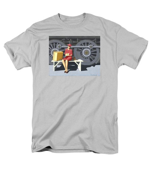 Woman With Locomotive Men's T-Shirt  (Regular Fit) by Gary Giacomelli