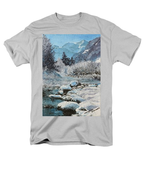 Men's T-Shirt  (Regular Fit) featuring the painting Blue Winter by Mary Ellen Anderson