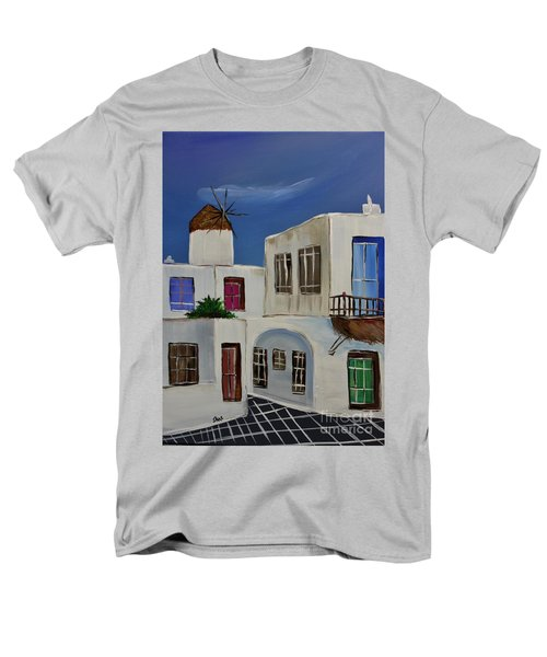 Men's T-Shirt  (Regular Fit) featuring the painting Greek Village by Janice Rae Pariza