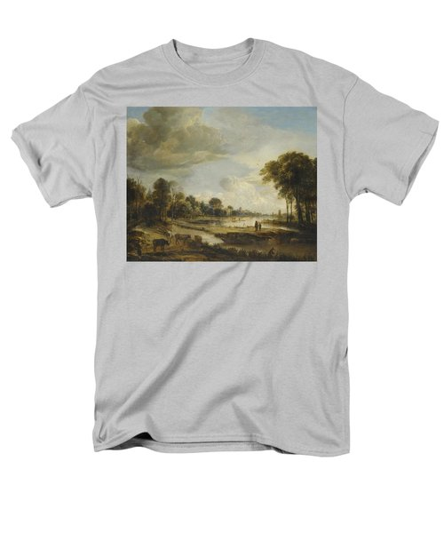 Men's T-Shirt  (Regular Fit) featuring the painting A River Landscape With Figures And Cattle by Gianfranco Weiss