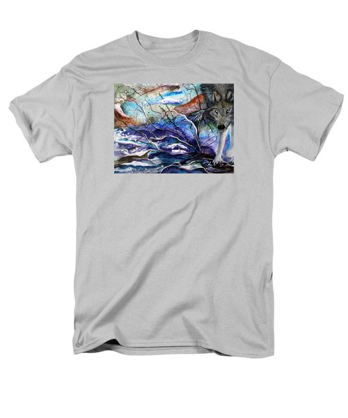 Men's T-Shirt  (Regular Fit) featuring the painting Abstract Wolf by Lil Taylor