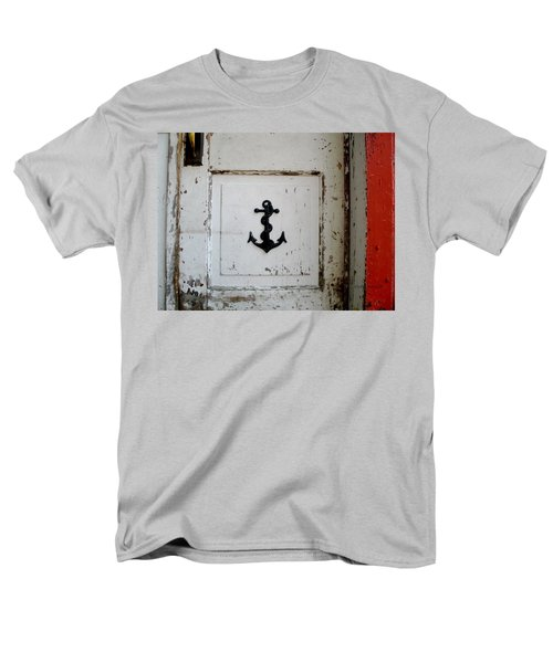 Men's T-Shirt  (Regular Fit) featuring the photograph Anchor On Old Door by Kathy Barney
