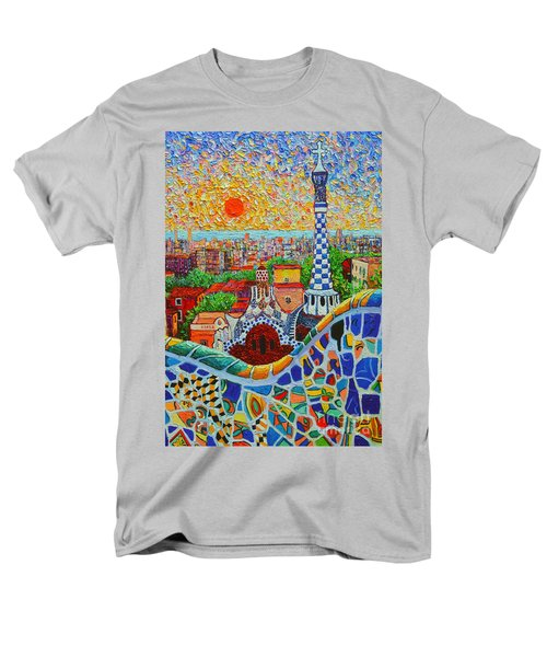 Barcelona Sunrise - Guell Park - Gaudi Tower Men's T-Shirt  (Regular Fit) by Ana Maria Edulescu