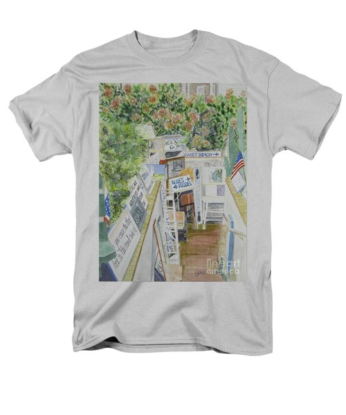 Men's T-Shirt  (Regular Fit) featuring the painting Beach Signs by Carol Flagg