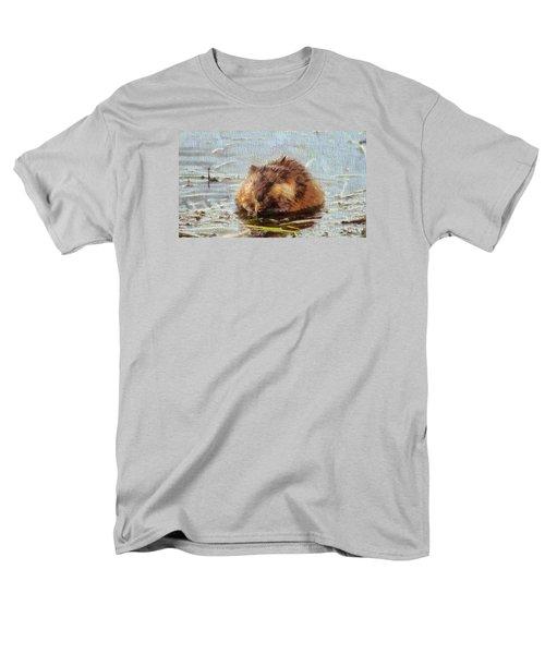 Beaver Portrait On Canvas Men's T-Shirt  (Regular Fit) by Dan Sproul