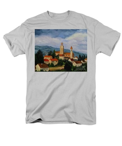 Men's T-Shirt  (Regular Fit) featuring the painting Bell Tower Of Vinci by Julie Brugh Riffey
