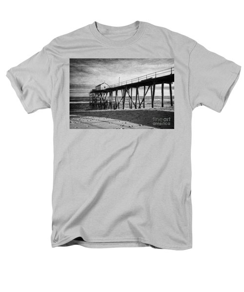 Men's T-Shirt  (Regular Fit) featuring the photograph Belmar Fishing Pier In Black And White by Debra Fedchin