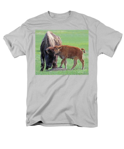 Men's T-Shirt  (Regular Fit) featuring the photograph Bison With Young Calf by Bill Gabbert