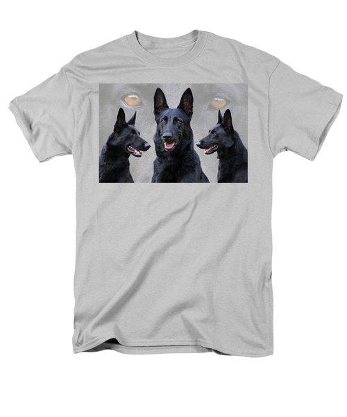 Black German Shepherd Dog Collage Men's T-Shirt  (Regular Fit) by Sandy Keeton
