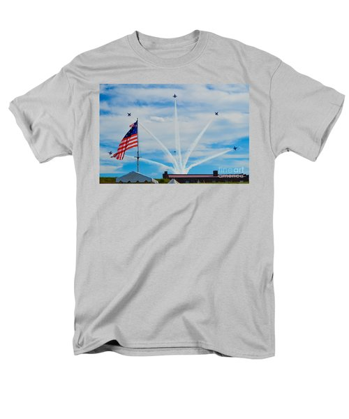Blue Angels Bomb Burst In Air Over Fort Mchenry Finale Men's T-Shirt  (Regular Fit) by Jeff at JSJ Photography