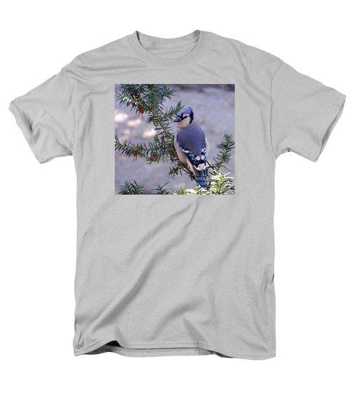 Blue Jay - Morning Visitor  Men's T-Shirt  (Regular Fit) by Susan  Dimitrakopoulos