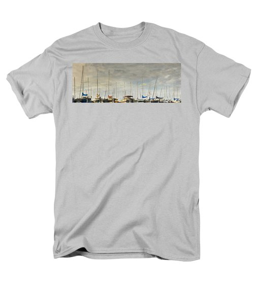 Men's T-Shirt  (Regular Fit) featuring the photograph Boats In Harbor Reflection by Peter v Quenter