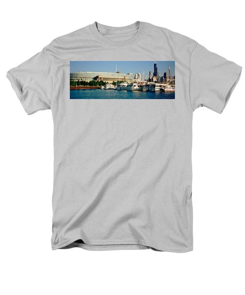 Boats Moored At A Dock, Chicago Men's T-Shirt  (Regular Fit) by Panoramic Images