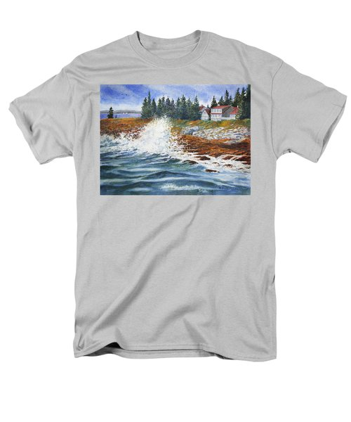 Men's T-Shirt  (Regular Fit) featuring the painting Breakers At Pemaquid by Roger Rockefeller