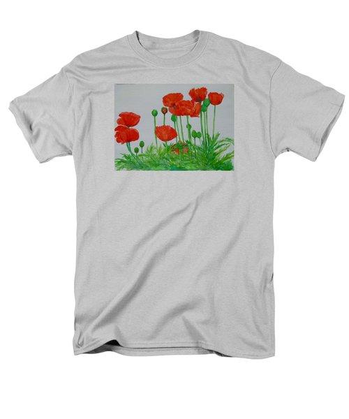 Red Poppies Colorful Flowers Original Art Painting Floral Garden Decor Artist K Joann Russell Men's T-Shirt  (Regular Fit) by Elizabeth Sawyer