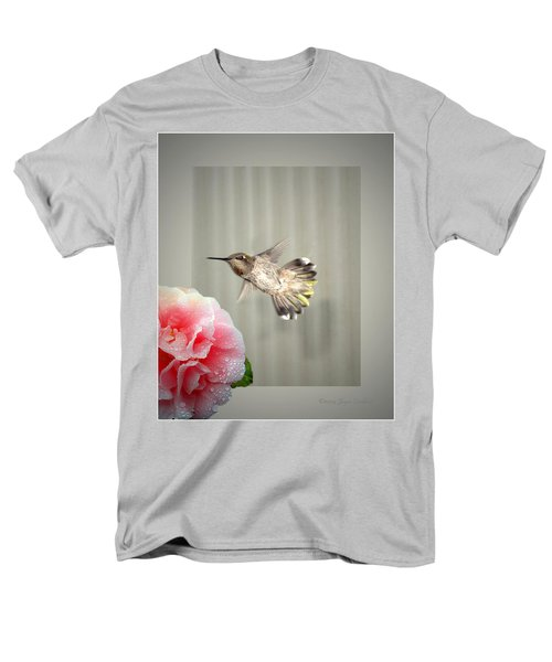 Men's T-Shirt  (Regular Fit) featuring the photograph Camellia And Hummer by Joyce Dickens