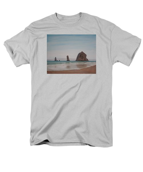 Men's T-Shirt  (Regular Fit) featuring the painting Cannon Beach Haystack Rock by Ian Donley