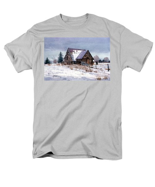 Men's T-Shirt  (Regular Fit) featuring the painting Cache Valley Barn by Donald Maier