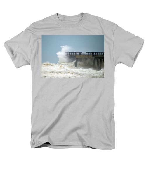 0828 Cat 1 Hurricane Isaac Crashes Into Navarre Beach Pier Men's T-Shirt  (Regular Fit) by Jeff at JSJ Photography