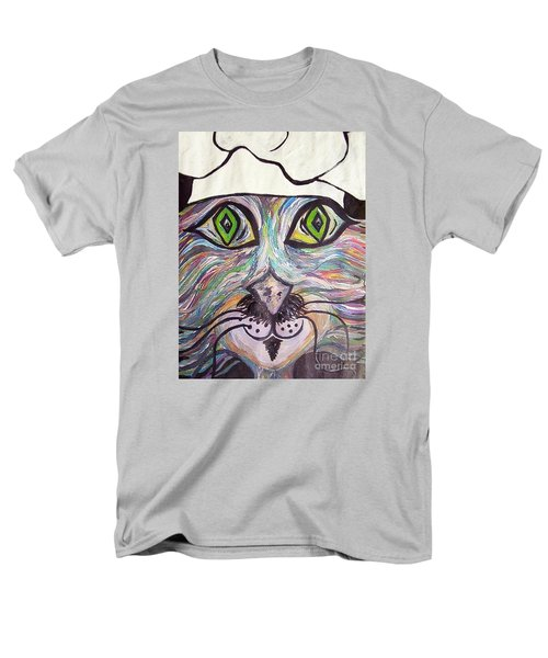 Men's T-Shirt  (Regular Fit) featuring the painting Chef Pierre ... A Cat With Good Taste by Eloise Schneider