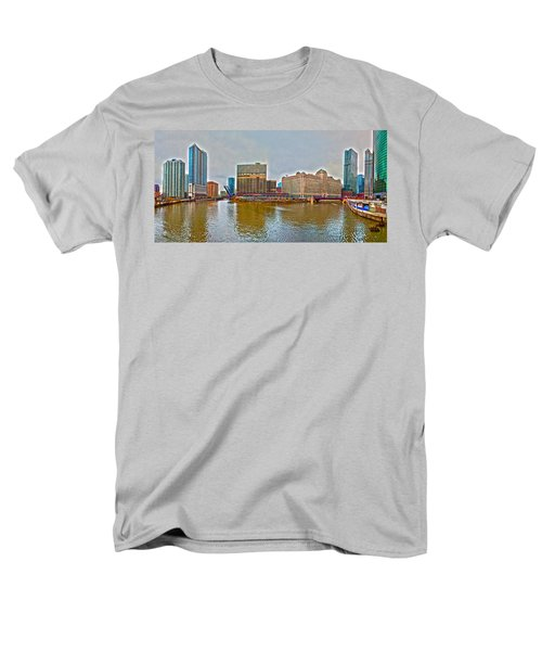 Men's T-Shirt  (Regular Fit) featuring the photograph Chicago Skyline And Streets by Alex Grichenko