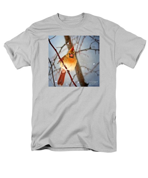 Northern Cardinal Snow Scene Men's T-Shirt  (Regular Fit) by Nava Thompson