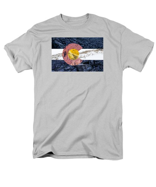 Men's T-Shirt  (Regular Fit) featuring the photograph Colorado State Flag With Mountain Textures by Aaron Spong