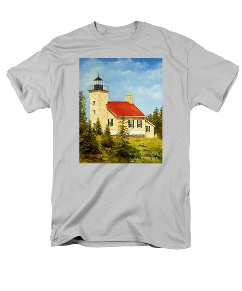 Men's T-Shirt  (Regular Fit) featuring the painting Copper Harbor Lighthouse by Lee Piper