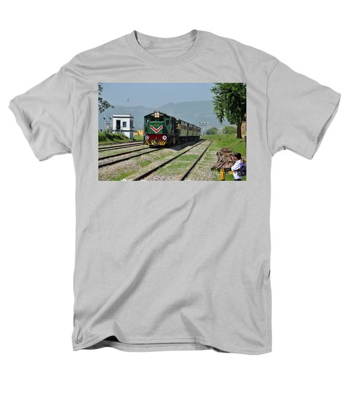 Men's T-Shirt  (Regular Fit) featuring the photograph Diesel Electric Locomotive Speeds Past Student by Imran Ahmed