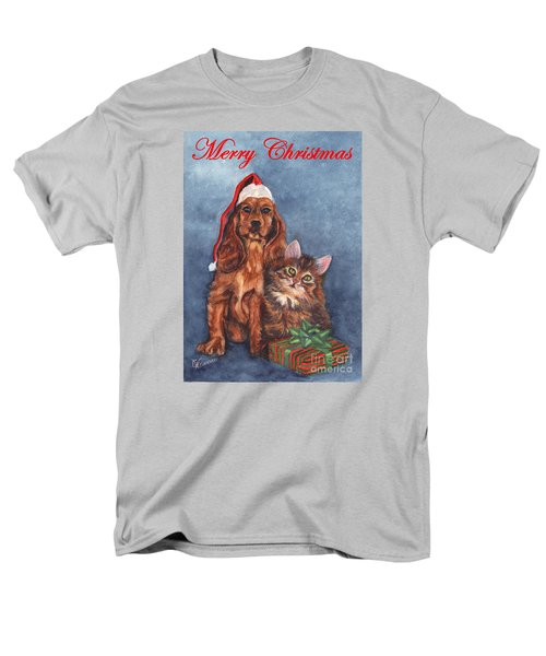 Men's T-Shirt  (Regular Fit) featuring the painting Dog And Cat Merry Christmas   by Carol Wisniewski