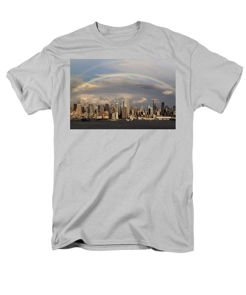 Double Rainbow Over Nyc Men's T-Shirt  (Regular Fit) by Susan Candelario