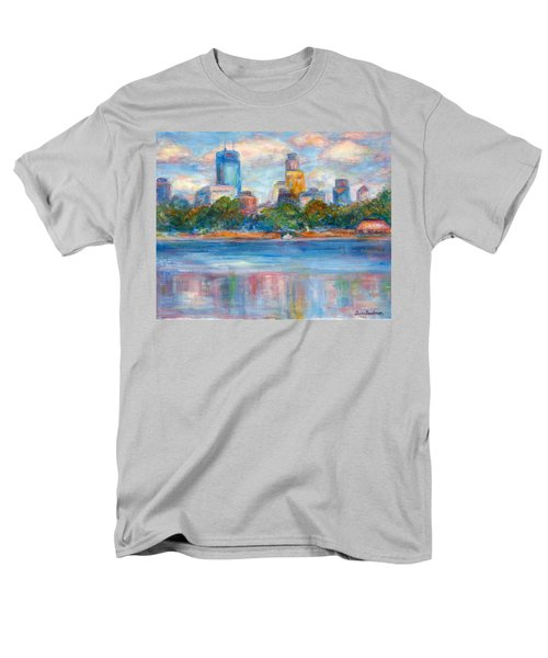 Downtown Minneapolis Skyline From Lake Calhoun II - Or Commission Your City Painting Men's T-Shirt  (Regular Fit) by Quin Sweetman