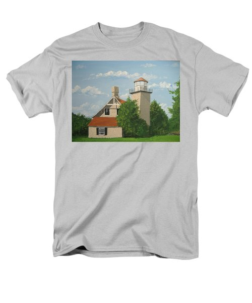 Men's T-Shirt  (Regular Fit) featuring the painting Eagle Bluff Lighthouse Wisconsin by Norm Starks