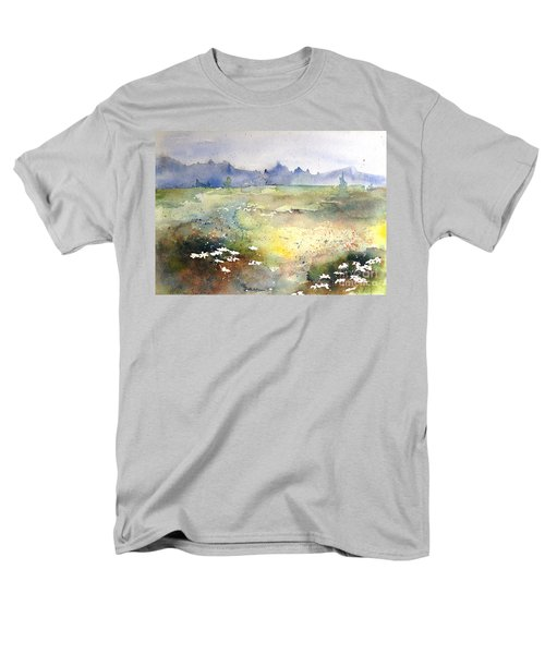 Men's T-Shirt  (Regular Fit) featuring the painting Field Of Daisies by Marilyn Zalatan