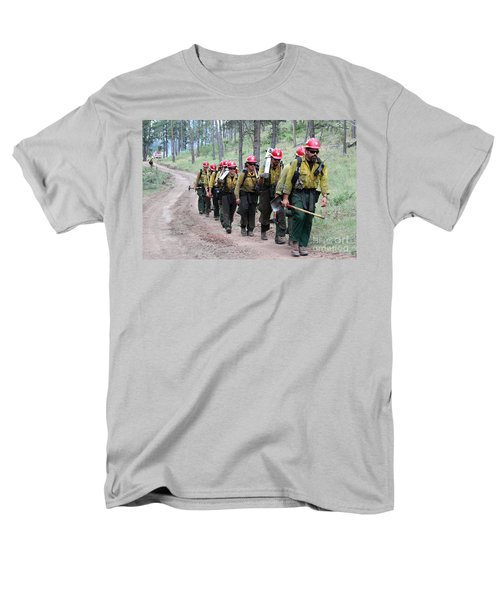Men's T-Shirt  (Regular Fit) featuring the photograph Fire Crew Walks To Their Assignment On Myrtle Fire by Bill Gabbert