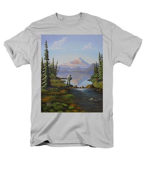 Men's T-Shirt  (Regular Fit) featuring the painting Fishing The High Lakes by Richard Faulkner