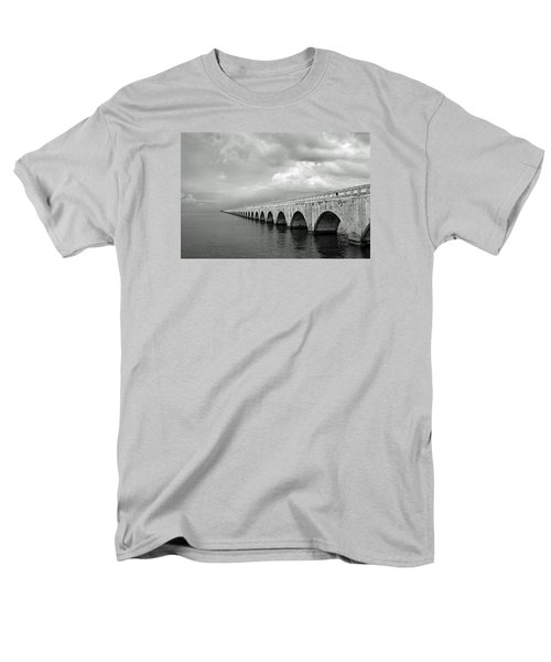 Florida Keys Seven Mile Bridge Black And White Men's T-Shirt  (Regular Fit) by Photographic Arts And Design Studio