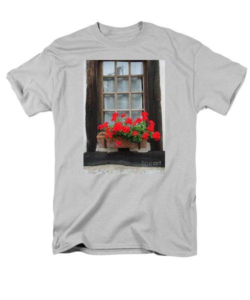 Geraniums In Timber Window Men's T-Shirt  (Regular Fit) by Barbie Corbett-Newmin