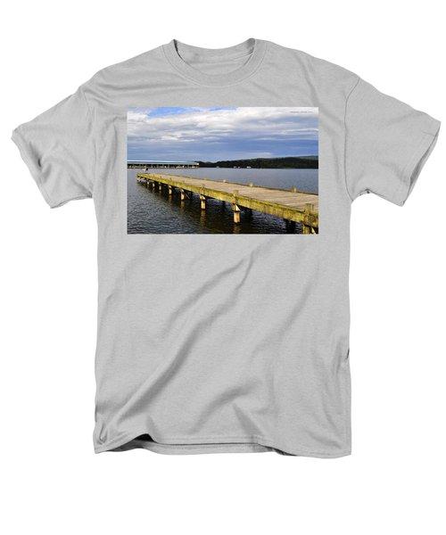 Great Blue Heron Sunning On The Dock Men's T-Shirt  (Regular Fit) by Verana Stark