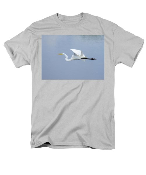 Men's T-Shirt  (Regular Fit) featuring the photograph Great Egret In Flight by John M Bailey