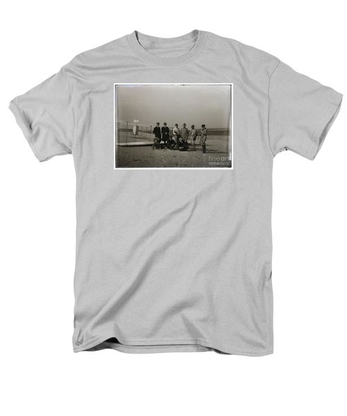 The Wright Brothers Group Portrait In Front Of Glider At Kill Devil Hill Men's T-Shirt  (Regular Fit) by R Muirhead Art