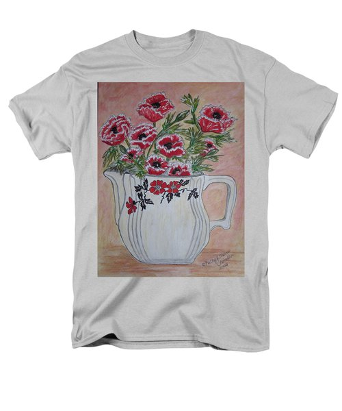Men's T-Shirt  (Regular Fit) featuring the painting Hall China Red Poppy And Poppies by Kathy Marrs Chandler