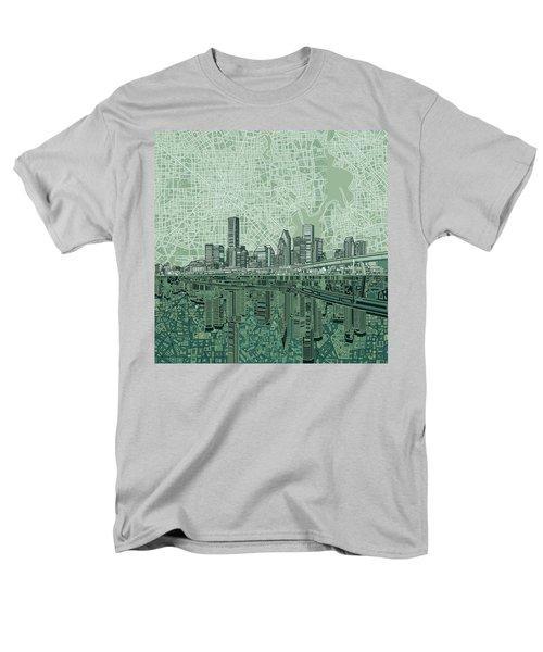 Houston Skyline Abstract 2 Men's T-Shirt  (Regular Fit) by Bekim Art