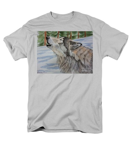 Howling Wolf In Winter Men's T-Shirt  (Regular Fit) by Brenda Brown