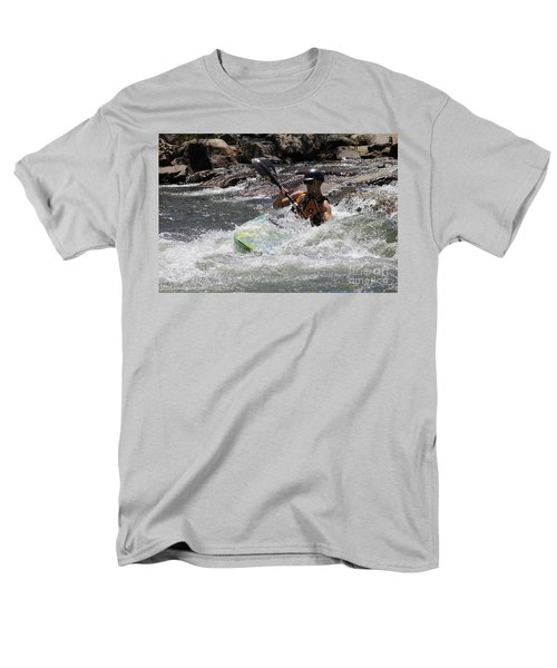 Men's T-Shirt  (Regular Fit) featuring the pyrography Kayaking In Golden by Chris Thomas