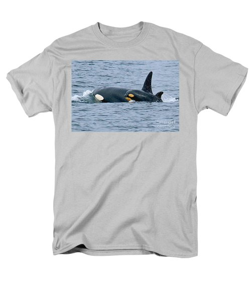 Men's T-Shirt  (Regular Fit) featuring the photograph Killer Whale Mother And New Born Calf Orcas In Monterey Bay 2013 by California Views Mr Pat Hathaway Archives