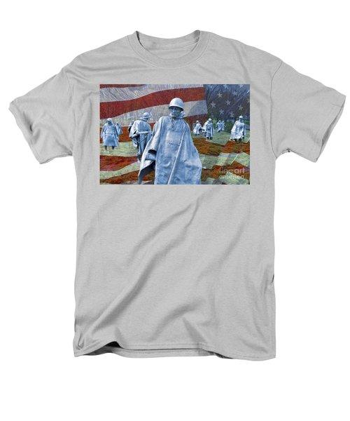 Korean War Veterans Memorial Bronze Sculpture American Flag Men's T-Shirt  (Regular Fit) by David Zanzinger