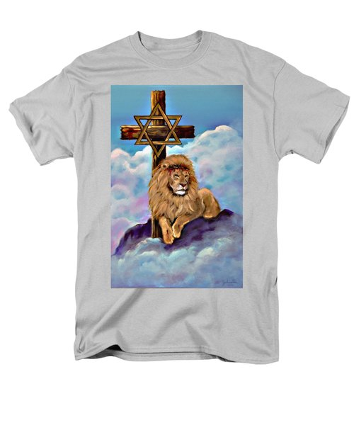 Lion Of Judah At The Cross Men's T-Shirt  (Regular Fit) by Bob and Nadine Johnston