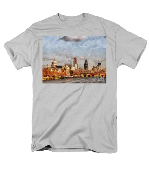 London Skyline From The River  Men's T-Shirt  (Regular Fit) by Pixel Chimp