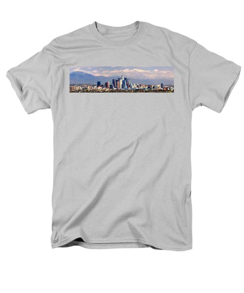Los Angeles Skyline With Mountains In Background Men's T-Shirt  (Regular Fit) by Jon Holiday
